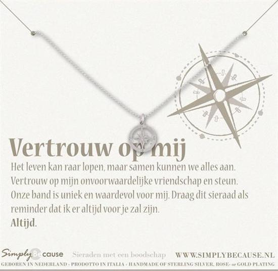 Simply Because Vertrouw op mij! Ketting (zilver, bedel kompas) 42 cm