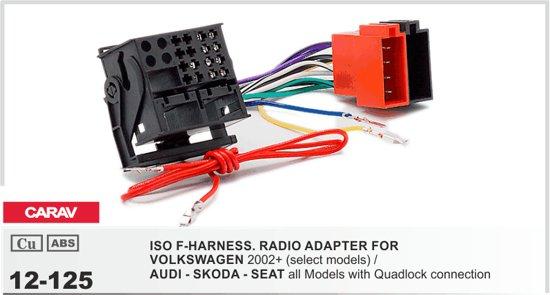 Isokabel geschikt voor VOLKSWAGEN 2002+ (select models) / AUDI - SKODA - SEAT all Models with Quadlock connection Audiovolt 12-125
