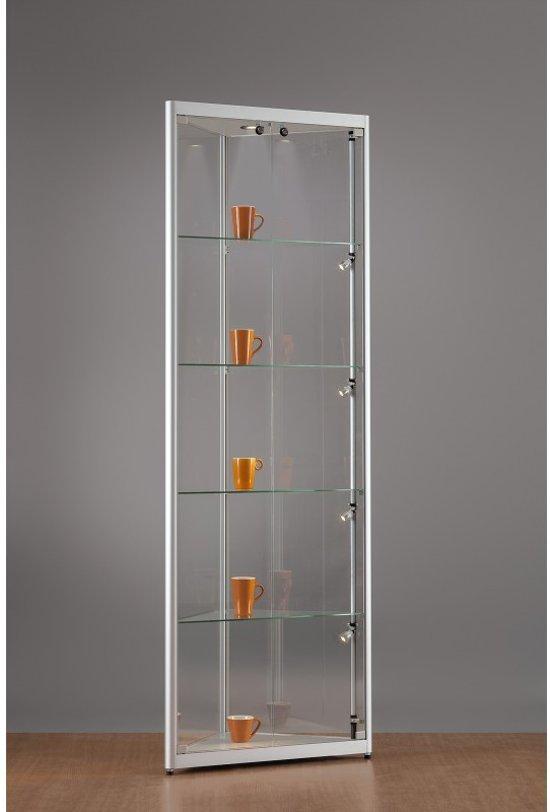 Hoek Vitrinekast Glas.Bol Com Luxe Vitrinekast Hoek Aluminium 50 Cm Met Led Verlichting