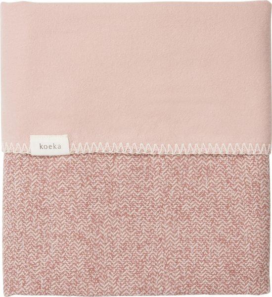 Koeka Ledikantdeken Vigo flanel - old pink/shadow pink