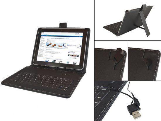 Keyboard Case voor de Insignia Flex 10.1 Ns 14t004, QWERTY Toetsenbordhoes, Zwart, merk i12Cover in Zandhoven