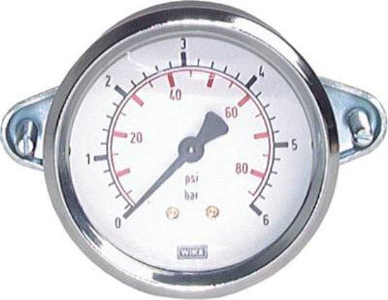 0..6 Bar Paneelmontage Manometer Staal/Messing 100 mm Klasse 1.0 (Beugel) - MW06100SH-TP
