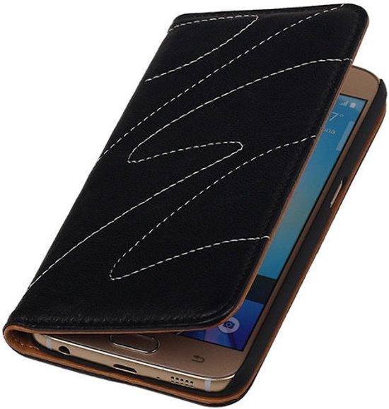 Zwart Samsung Galaxy S6 Lite echt lederen magnet book stand case hoesje in Acht