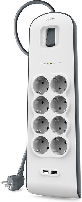 Belkin Stekkerblok met 8 uitgangen en 2 USB-Poorten 2.4A - overspanningsbeveiliging