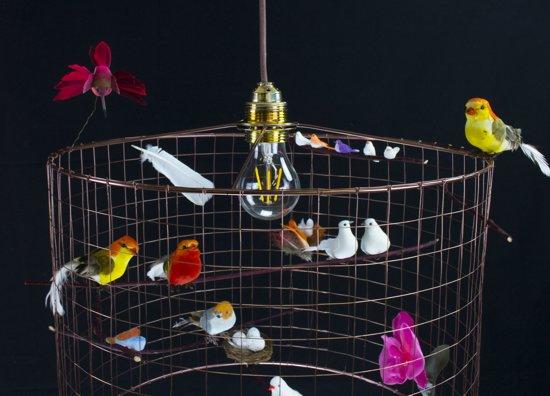 bol hanglamp met vogeltjes landelijk eettafel slaapkamer hal