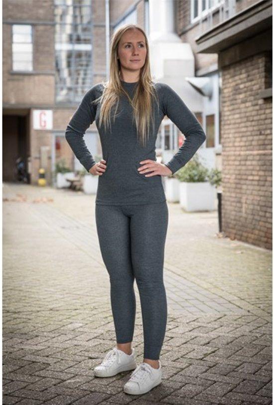 Thermokleding - Dames - Maat M - Shirt+Broek - Thermowear - Thermoset - Antraciet - Winterset