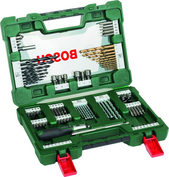 Bosch V-Line borenset - 91-delig - Titanium Plus Serie - Voor hout, metaal en steen - Met ratel-schroevendraaier en magnetisch uitschuifbare pen