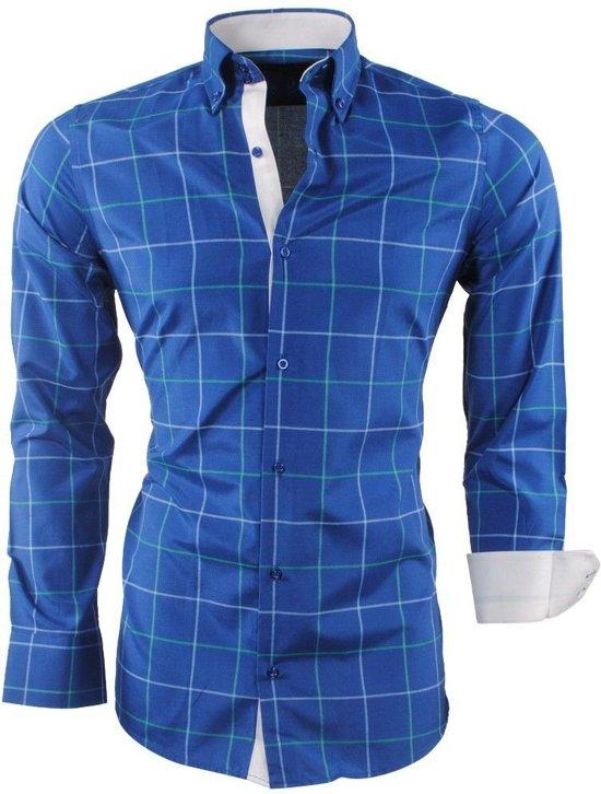 Overhemd MontazinniHeren MontazinniHeren Overhemd Sax Geblokt Blue Geblokt 4j5R3LcAq