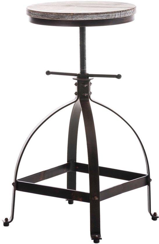 Clp Barkruk RAJA barstoel industrial look industry, combinatie van hout en metaal, zonder leuning, in hoogte verstelbaar - bronskleur