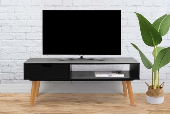 Tv Kast Zwart Hout.Bol Com Tv Meubel Moderne Kast Zwart Hout Incl