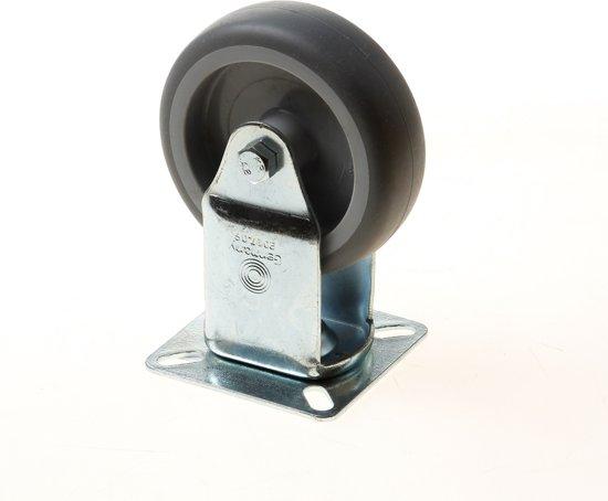 Kelfort Bokwiel met rubber wiel en glijlager, grijs 50kg 75mm