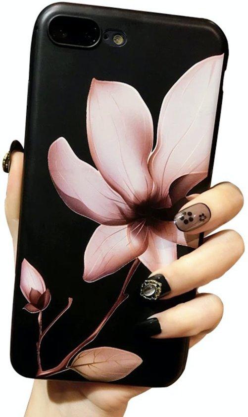 Luxe 3D Bloemen Flower Cover voor  iPhone 7 Plus | iPhone 8 Plus | Hoogwaardig TPU | Soft case zacht | Roze - Zwart hoesje