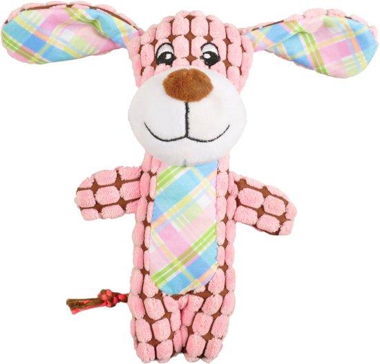Flamingo Pluche Hond - Hondenspeelgoed - 12 cm - Roze;Bruin