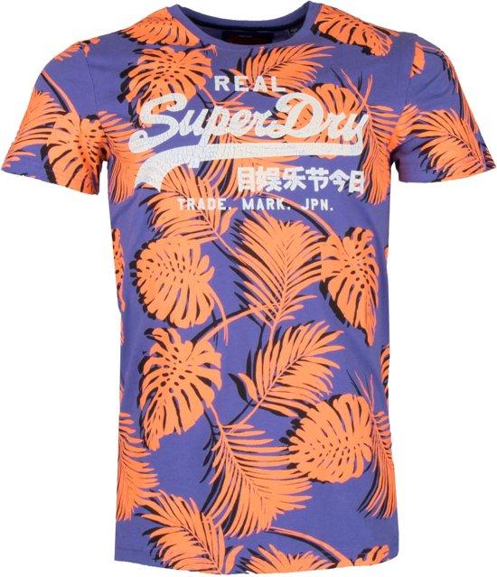 winkelen voor de goedkoopste op voet schoten van Superdry Shirt - Maat L - Mannen - paars/oranje/wit