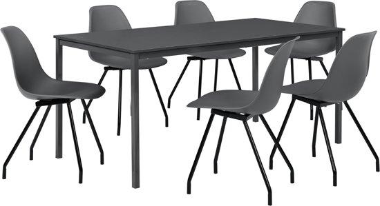 Eetkamerset Ede donkergrijs - tafel 160x80cm met 6 stoelen