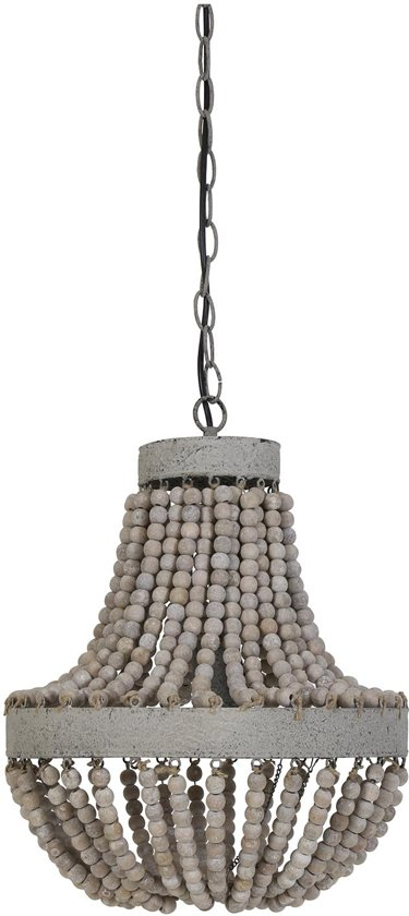 Light & Living Hanglamp Luna M - Hout - Wit