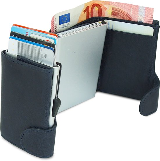 e38646816fb Businessme Cardprotector Creditcardhouder Leer - Uitschuifbare Pasjeshouder  - 9 Pasjes - RFID - Donker Blauw