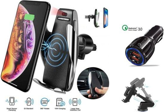 DrPhone Smart Sensor Automatische Infrarood 360° Autohouder met Draadloos Laden + DrPhone 30W Gecertificeerde lader + Dashboard houder - Combi Pack - Meest uitgebreide pakket
