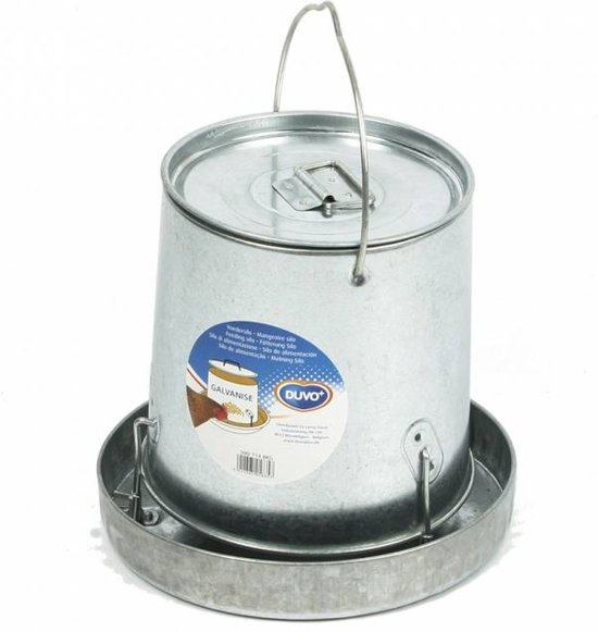 Duvo+ Voedersilo galvanise met deksel - Zilverkleurig - 24,5 x 36 x 39,5cm