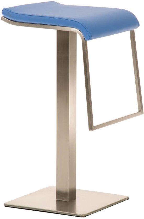 Clp Moderne design barkruk LAMENG E78 - zithoogte 78 cm - RVS kolomvoet, met voetsteun, imitatieleer - blauw