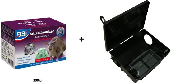 Muizengif & rattengif - Veilig ratten & muizen bestrijden: Generation block 300gr + voederdoos met slot