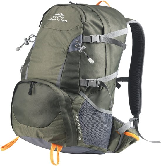 3f5a25faf41 Dutch Mountains - Backpack Merwede Rugzak 40 Ltr - Rugventilatie + Regenhoes  - Groen