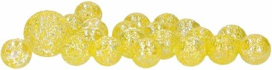 40x Knikkers Glitter Fairy in netje - Gele knikkers buitenspeelgoed voor kinderen
