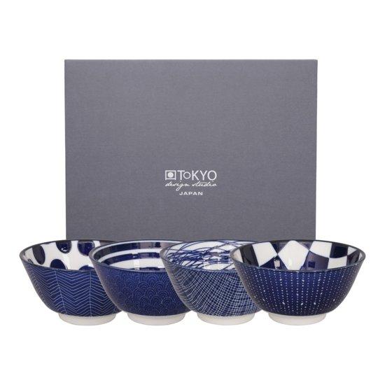 Tokyo Design Studio Le Bleu de Nîmes Kommen 12 cm - set van 4