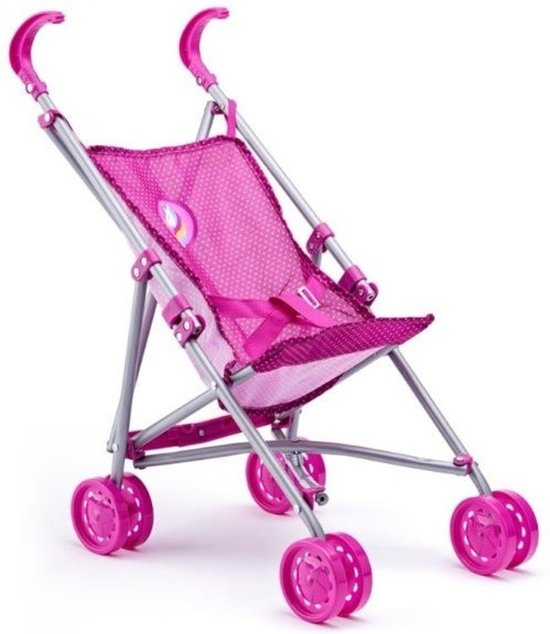 Roze poppen buggy met eenhoorn - Kinderspeelgoed