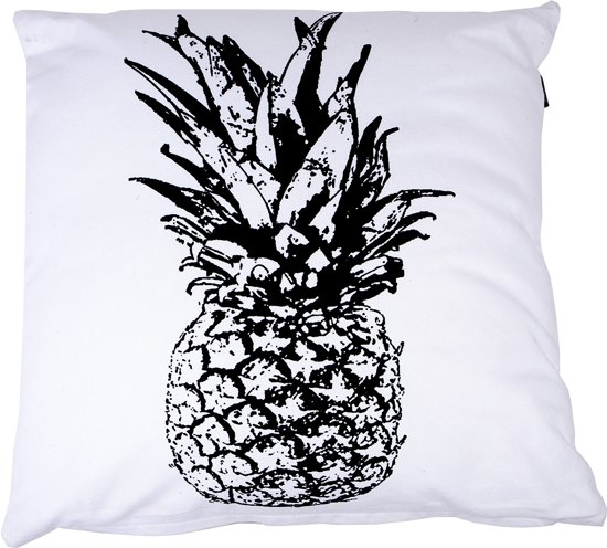 In The Mood Ananas - Sierkussen - 50x50 cm - Ivoor Wit/Zwart