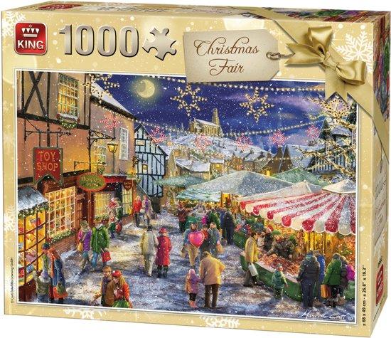 King Puzzel 1000 Stukjes (68 x 49 cm) - Kerstpuzzel Kerstmarkt - Legpuzzel Kerst - Winter