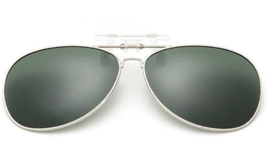 Clip-On Aviator Zonnebril – Gepolariseerd – UV 400 Bescherming – Donkergroen