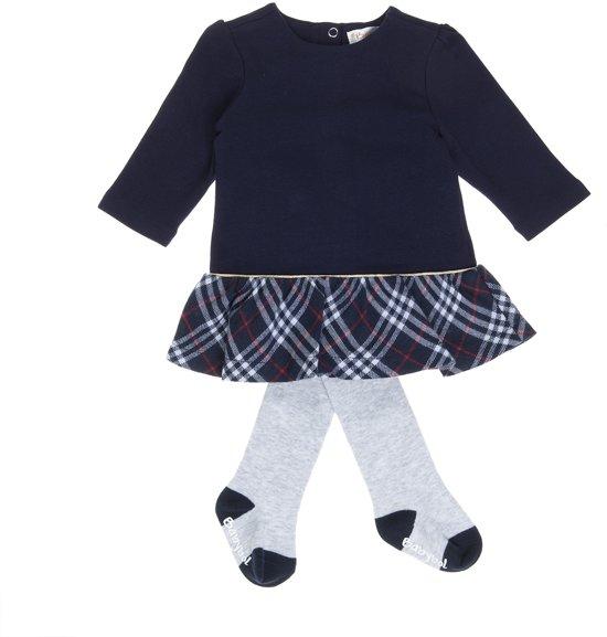 Babybol blauwe meisjes jurk + grijze panty