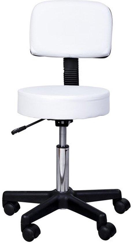 Tabouret comfort - Tabouret met rugleuning - In hoogte verstelbaar - Wit