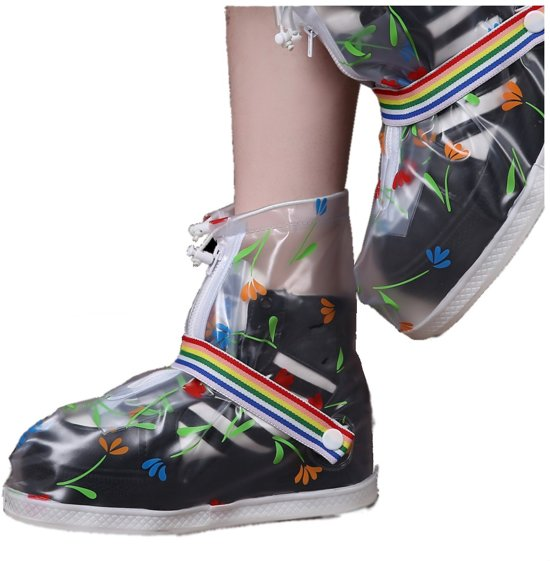 RAINBOW DAY Rain Shoe Cover with strap transparent M