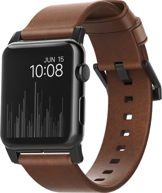 Nomad leren bandje voor Apple Watch - 42 mm - bruin/zwart