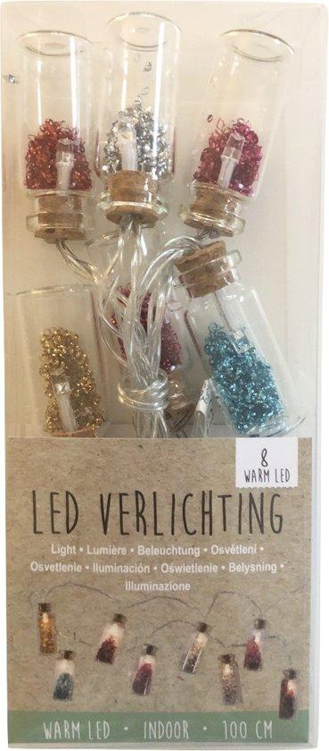 LED Lichtsnoer glitters in flesje glas