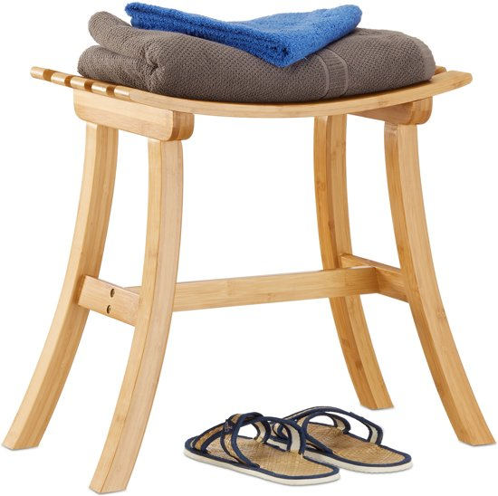 relaxdays kruk bamboe - houten hocker gang - badkamerkruk vlak - zetel - garderobe - hout
