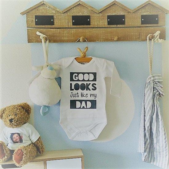 Baby Rompertje Tekst Eerste Vaderdag Cadeau Papa Good Looks Just Like My Dad Lange Mouwen Wit Zwart Maat 86 92 Mooiste Cadeautje Kind