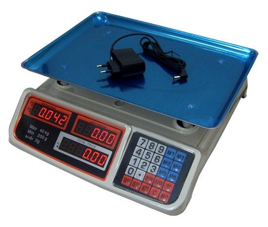 Digitale horeca, markt, pakket prijs kleine weegschaal met voor en achter lcd display 40KG met oplaadbare accu nauwkeurigheid 2 gram