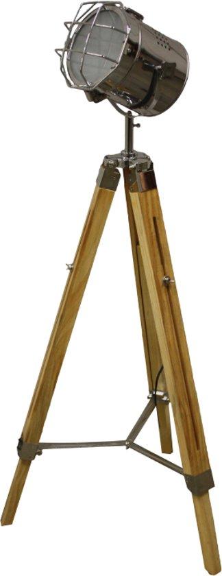 Standstrahler old color chrome natural wood 71 for Industriele staande lamp