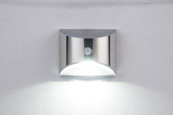 Solar Wandlamp Tuin : Bol solar led wandlamp flint rvs met bewegingsmelder warm wit