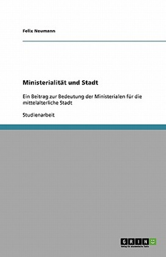Ministerialit t Und Stadt