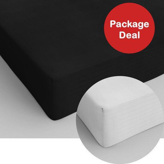 Package Deal 2x Dreamhouse Bedding Hoeslaken Katoen 90x200 - Zwart - Wit