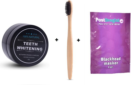 Activated Organic Charcoal Teeth Whitening Natural / Tanden Witten + Gratis Bamboo Tandenborstel