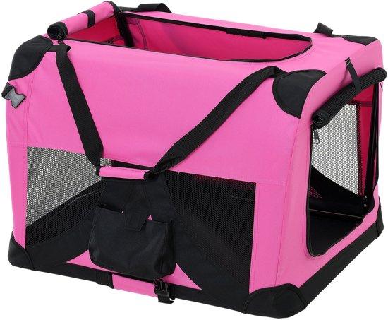 [pro.tec]® Dieren transportbox - reismand - roze - L