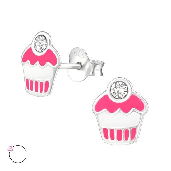 zilveren kinderoorbellen cupcake, Swarovski®   Sterling 925 Silver (Echt zilver)