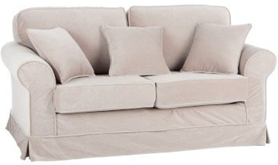 Duverger Velvet Sofa 2 Zitbank Fluweel Beige Kussens