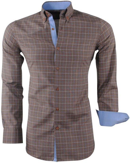 Bruin Overhemd.Bol Com Montazinni Heren Overhemd Geblokt Bruin