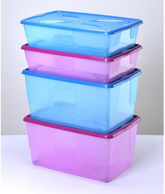 Bama Italia Opbergbox kinderen met wieltjes roze 24 liter